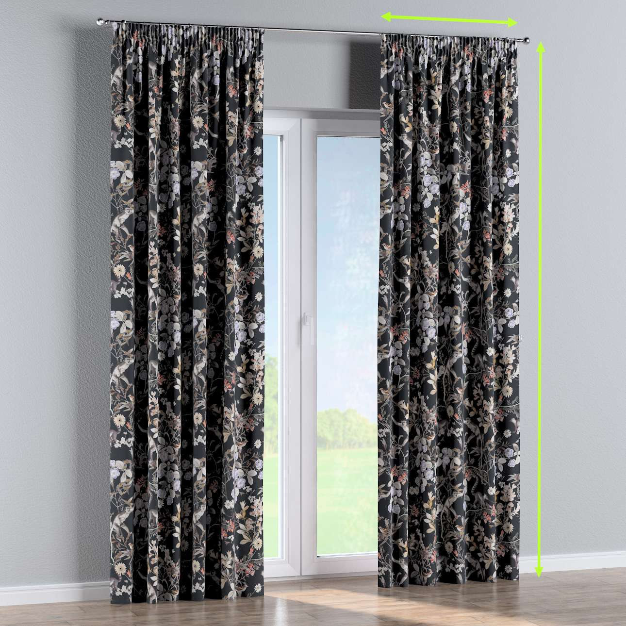 Pencil pleat curtain in collection Tropical Island, fabric: 142-60