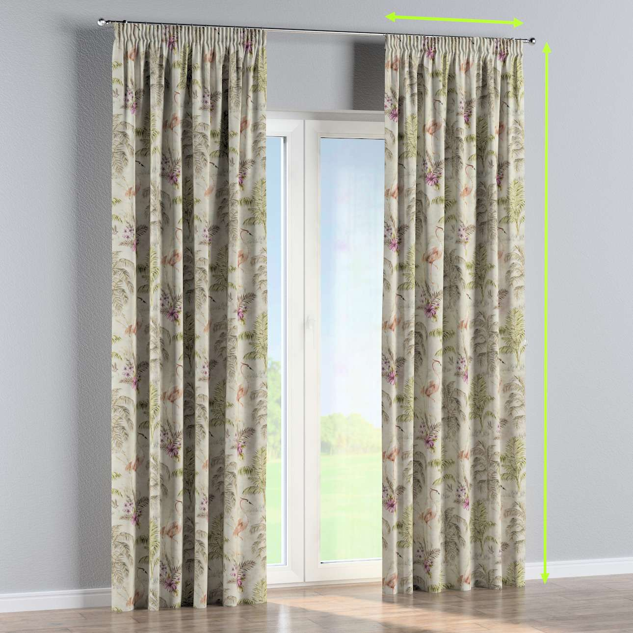 Pencil pleat curtain in collection Tropical Island, fabric: 142-61