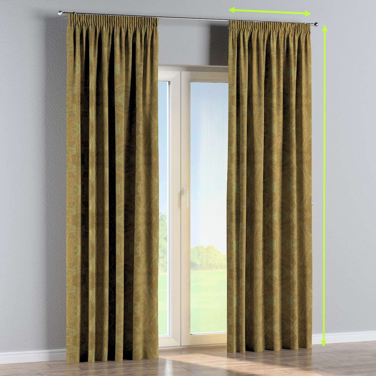 Pencil pleat curtain in collection Tropical Island, fabric: 142-59