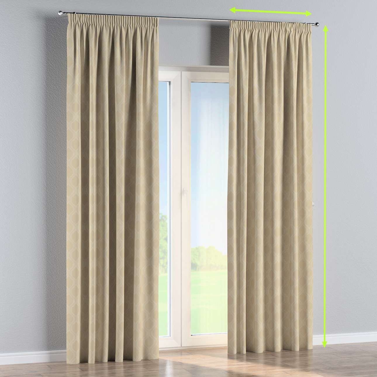 Pencil pleat curtain in collection Damasco, fabric: 142-53