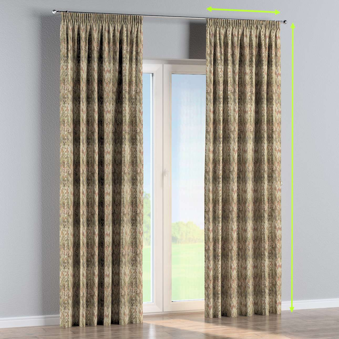 Pencil pleat curtain in collection Tropical Island, fabric: 142-66