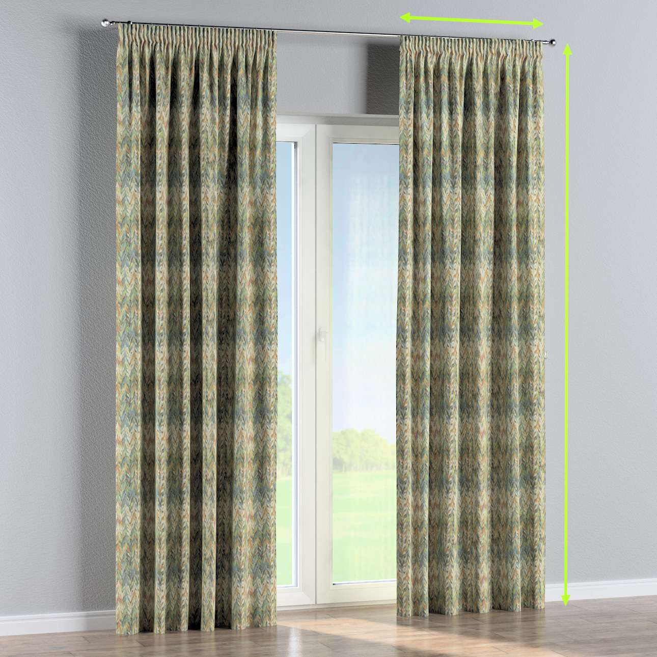 Pencil pleat curtain in collection Tropical Island, fabric: 142-67