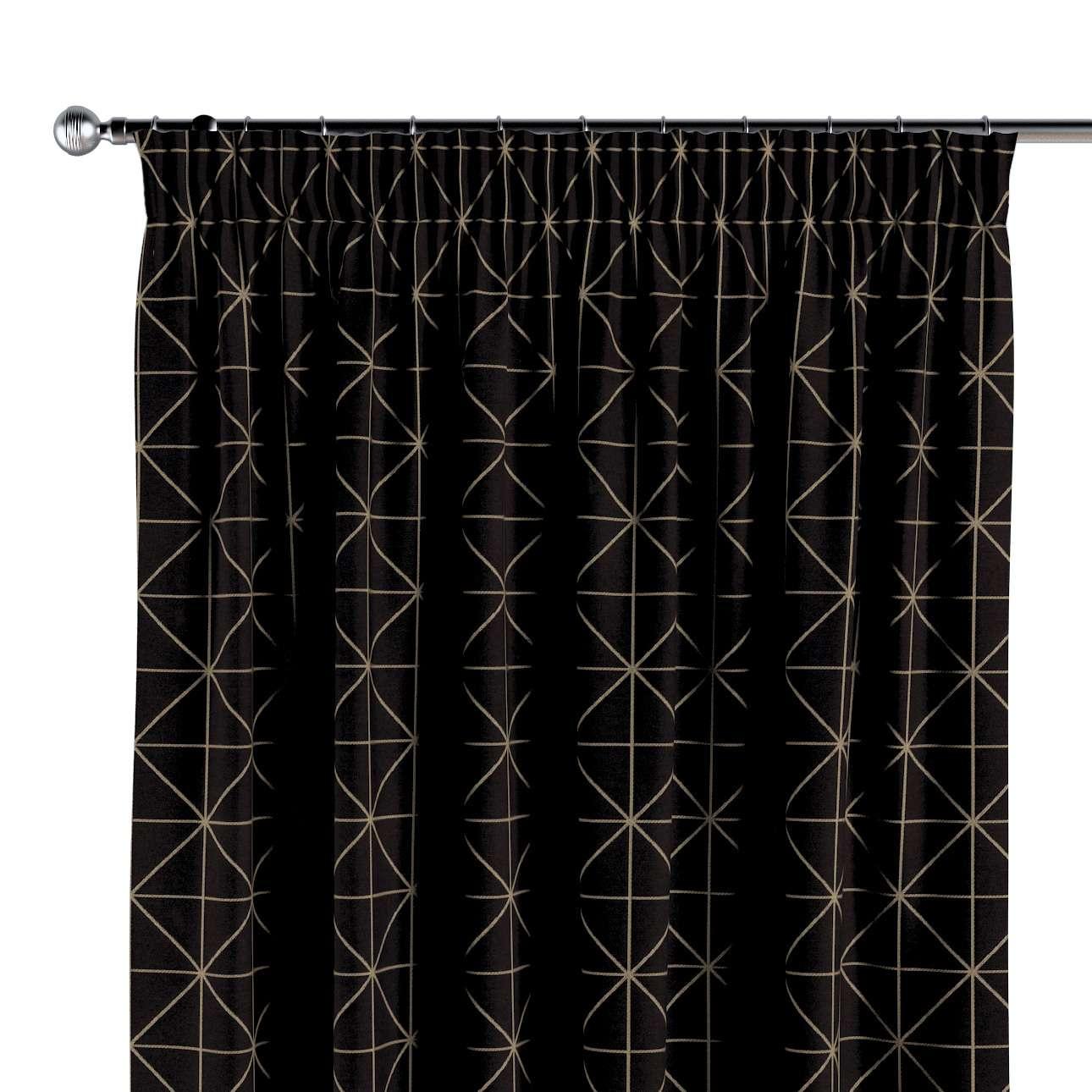 Vorhang mit Kräuselband von der Kollektion Black & White, Stoff: 142-55