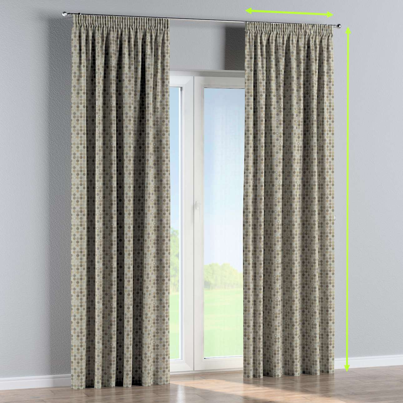 Pencil pleat curtains in collection Retro Glam, fabric: 142-81
