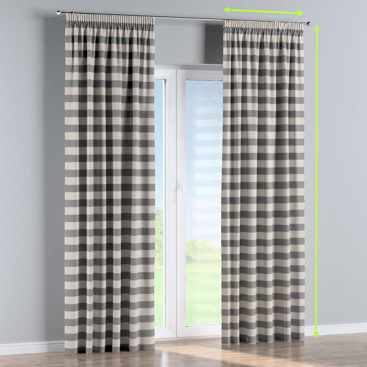 Pencil pleat curtain in collection Quadro, fabric: 142-71
