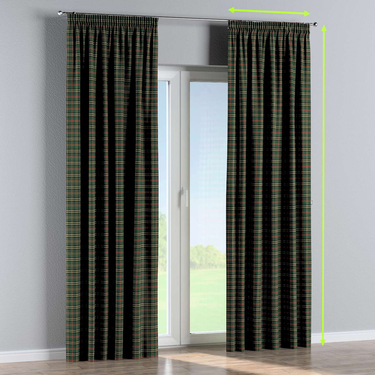 Pencil pleat curtains in collection Bristol, fabric: 142-69