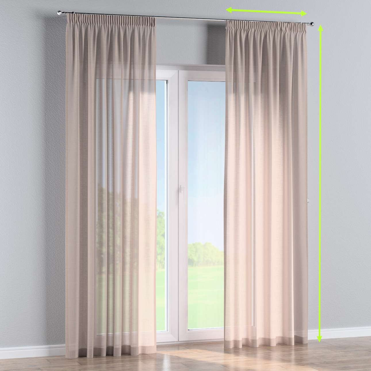 Pencil pleat curtain in collection Romantica, fabric: 142-89