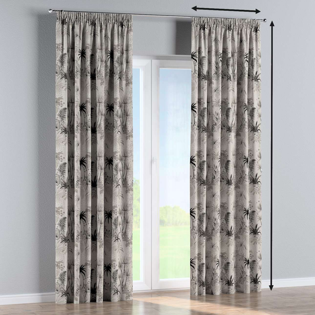 Pencil pleat curtain in collection Nordic, fabric: 142-97