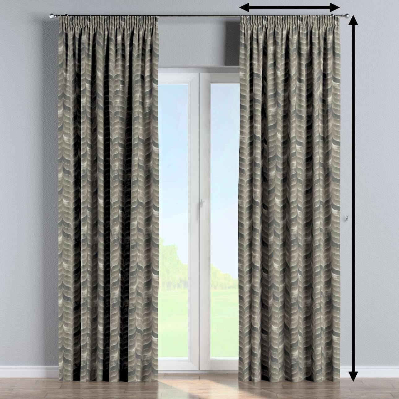 Pencil pleat curtain in collection Abigail, fabric: 143-12
