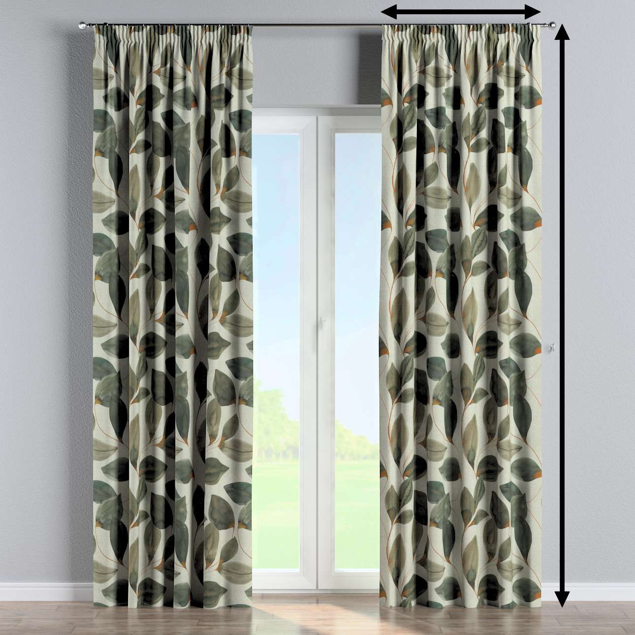 Pencil pleat curtain in collection Abigail, fabric: 143-17
