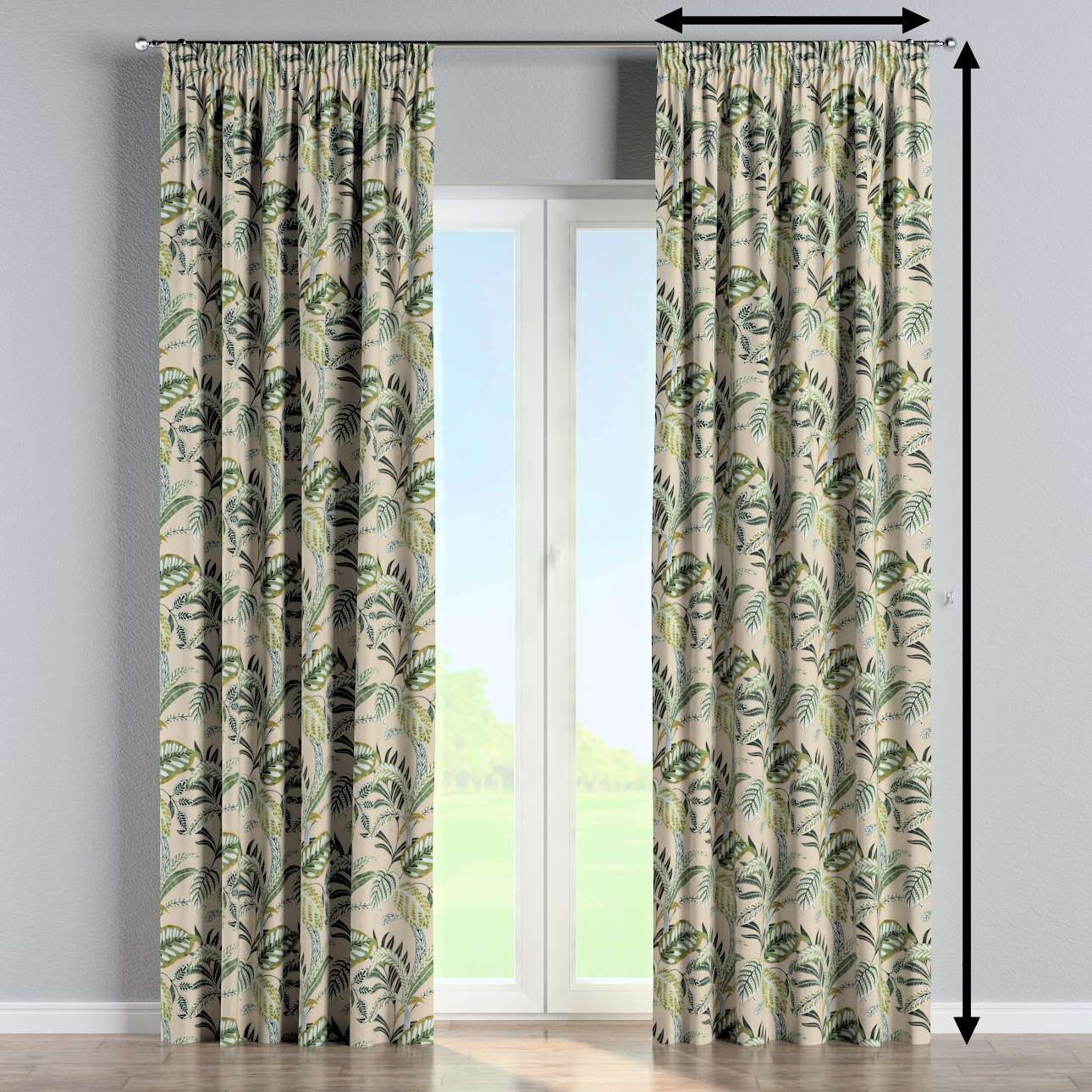 Pencil pleat curtain in collection Tropical Island, fabric: 142-96