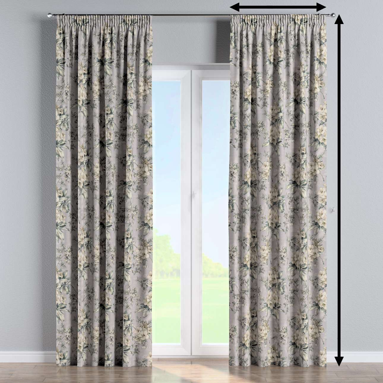 Pencil pleat curtain in collection Londres, fabric: 143-36