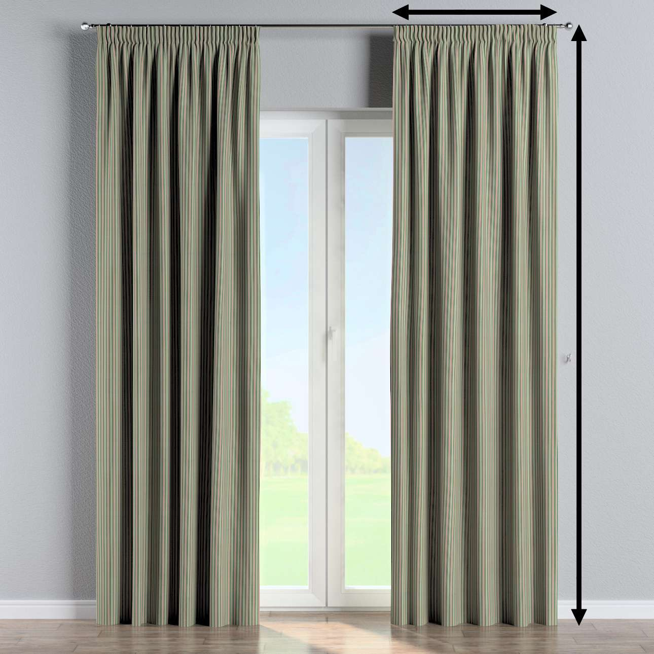 Pencil pleat curtain in collection Londres, fabric: 143-42
