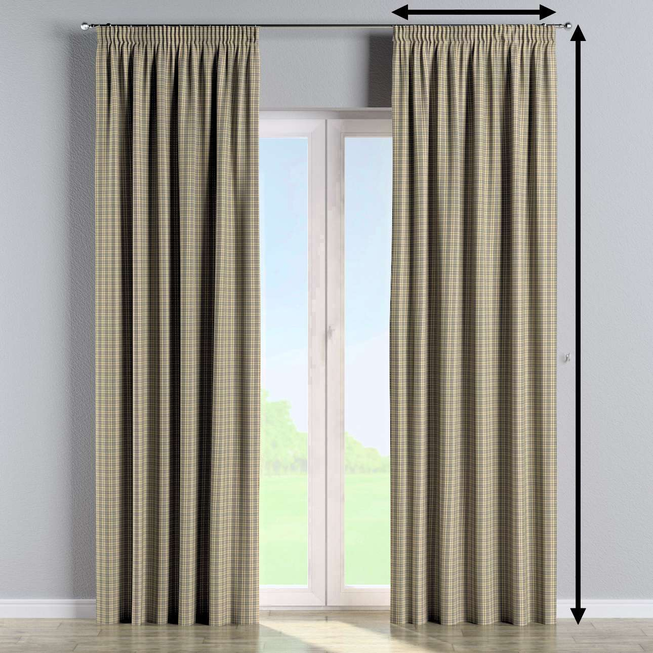 Pencil pleat curtain in collection Londres, fabric: 143-39