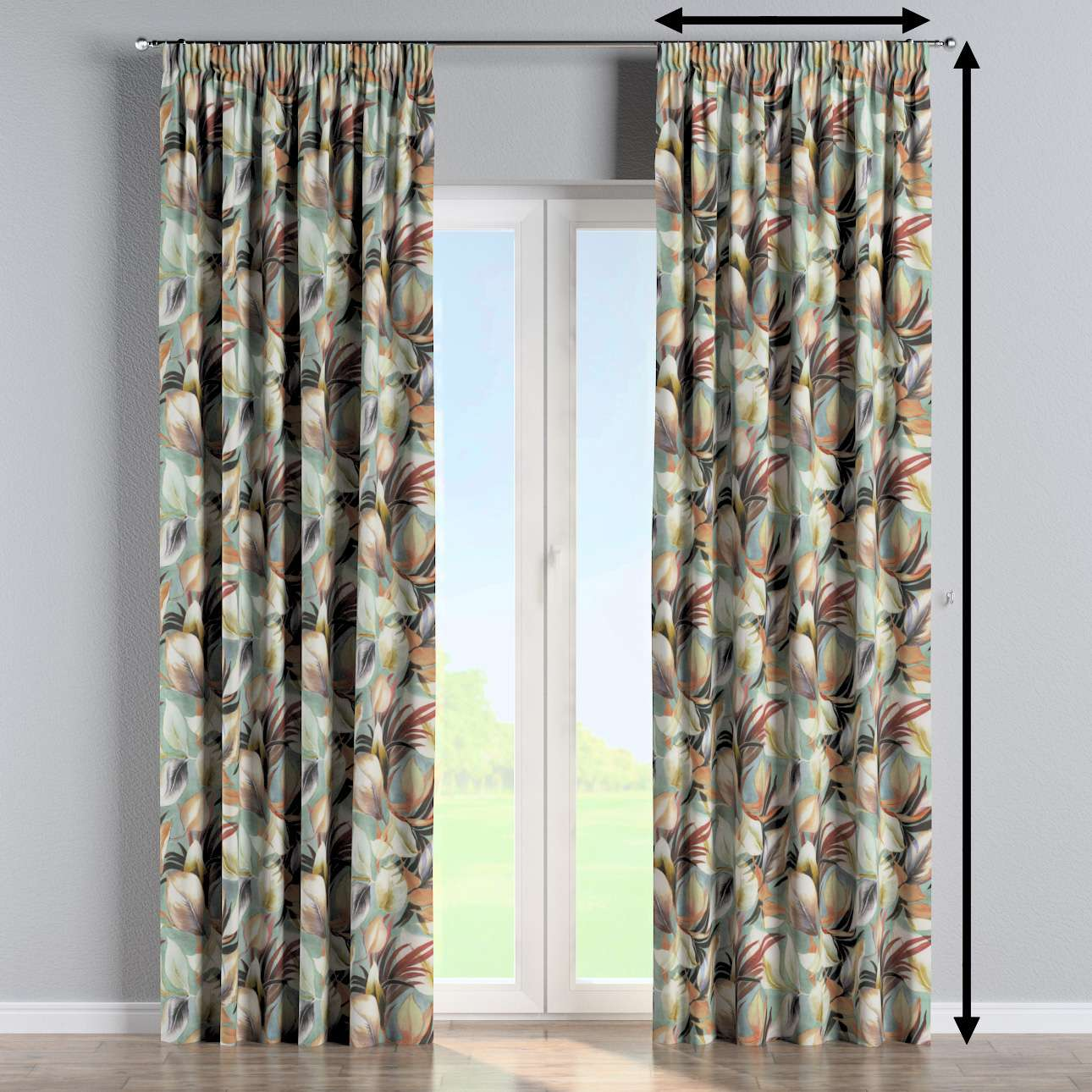 Pencil pleat curtain in collection Abigail, fabric: 143-61