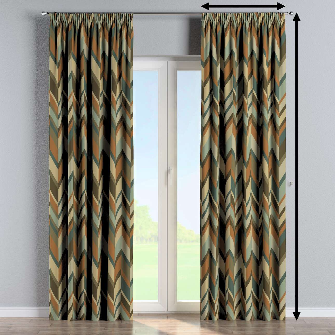 Pencil pleat curtain in collection Vintage 70's, fabric: 143-55
