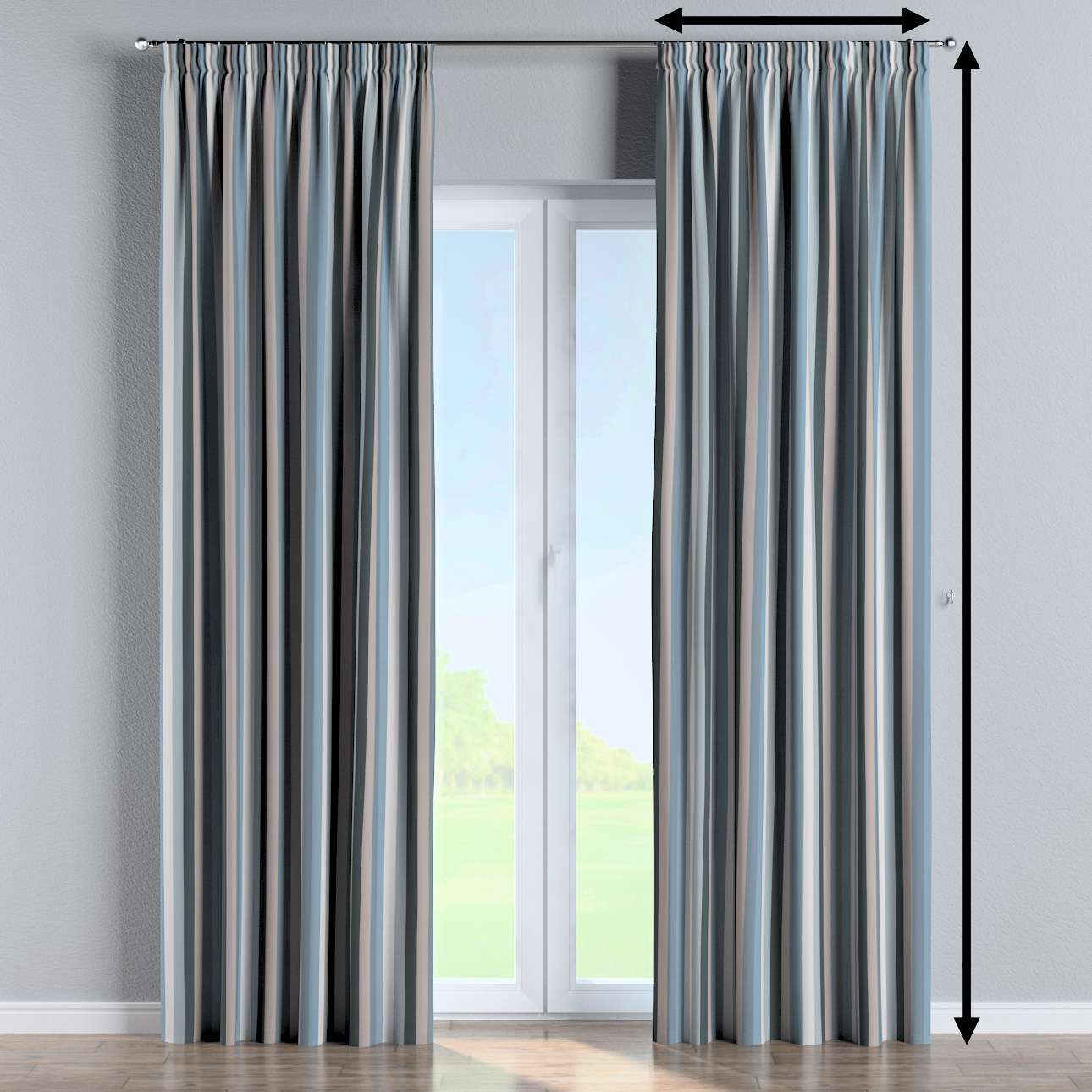 Pencil pleat curtain in collection Vintage 70's, fabric: 143-57
