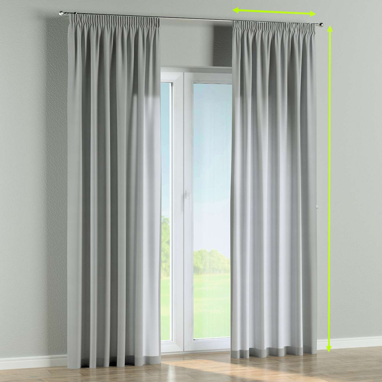 Pencil pleat curtain in collection Jupiter, fabric: 127-98