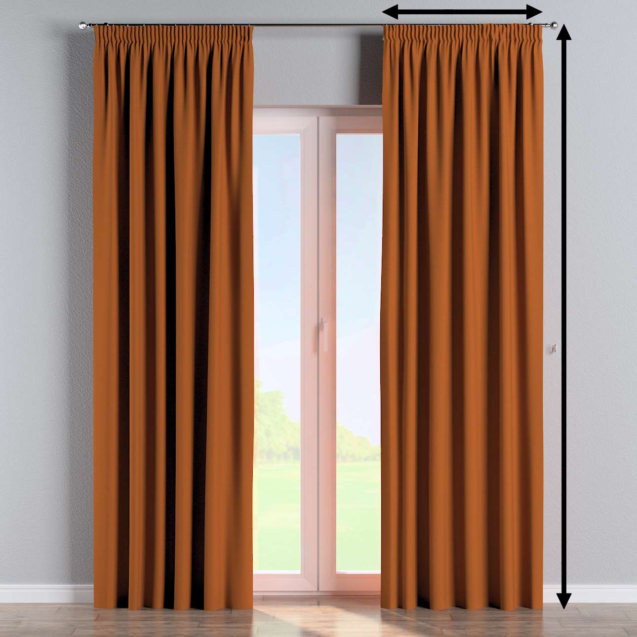 Pencil pleat curtain in collection Panama Cotton, fabric: 702-42