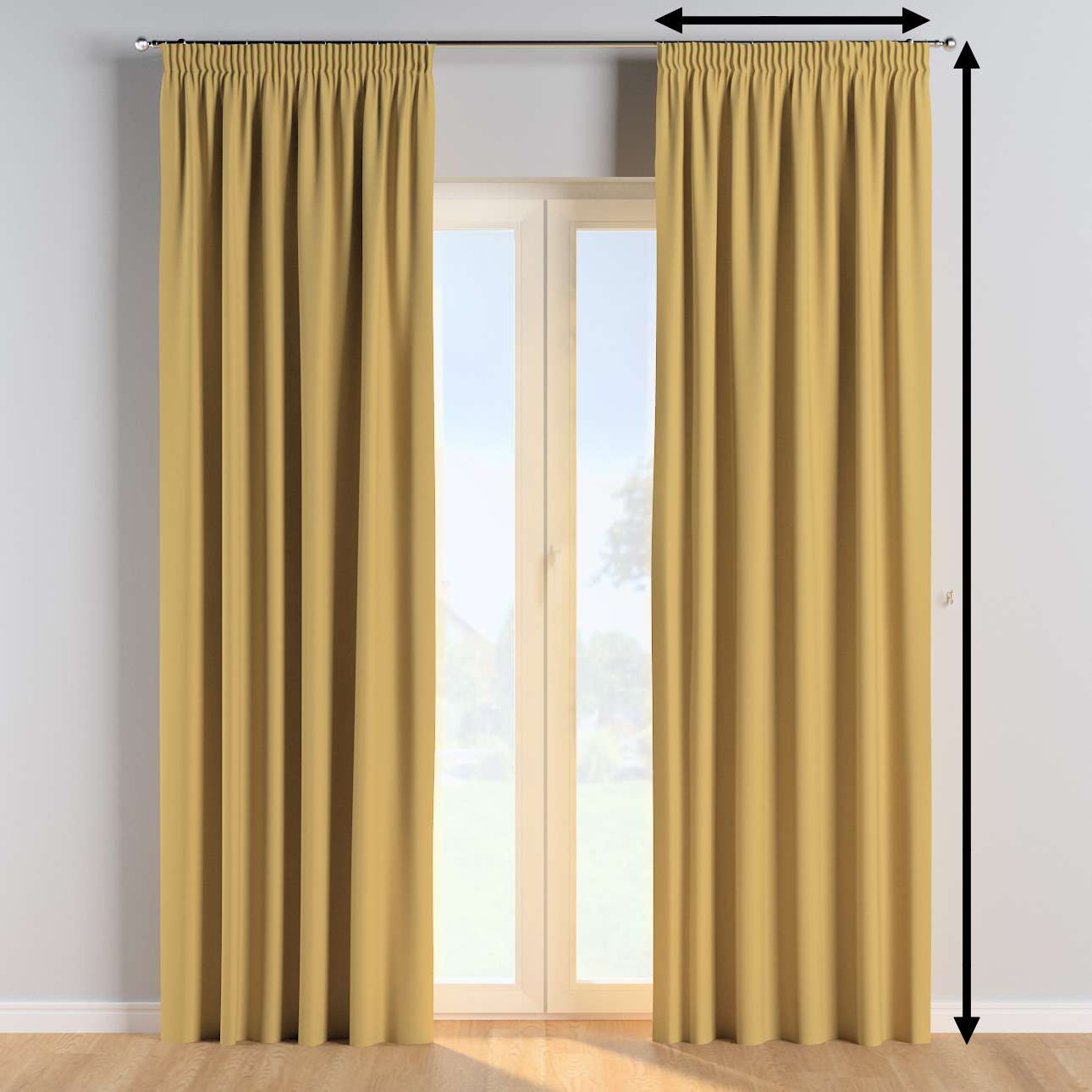 Pencil pleat curtains in collection Cotton Story, fabric: 702-41