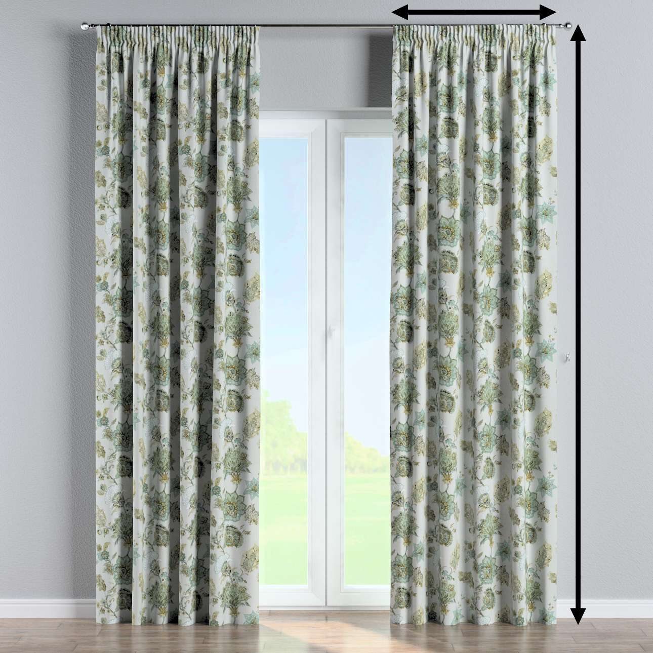 Pencil pleat curtain in collection Flowers, fabric: 143-67