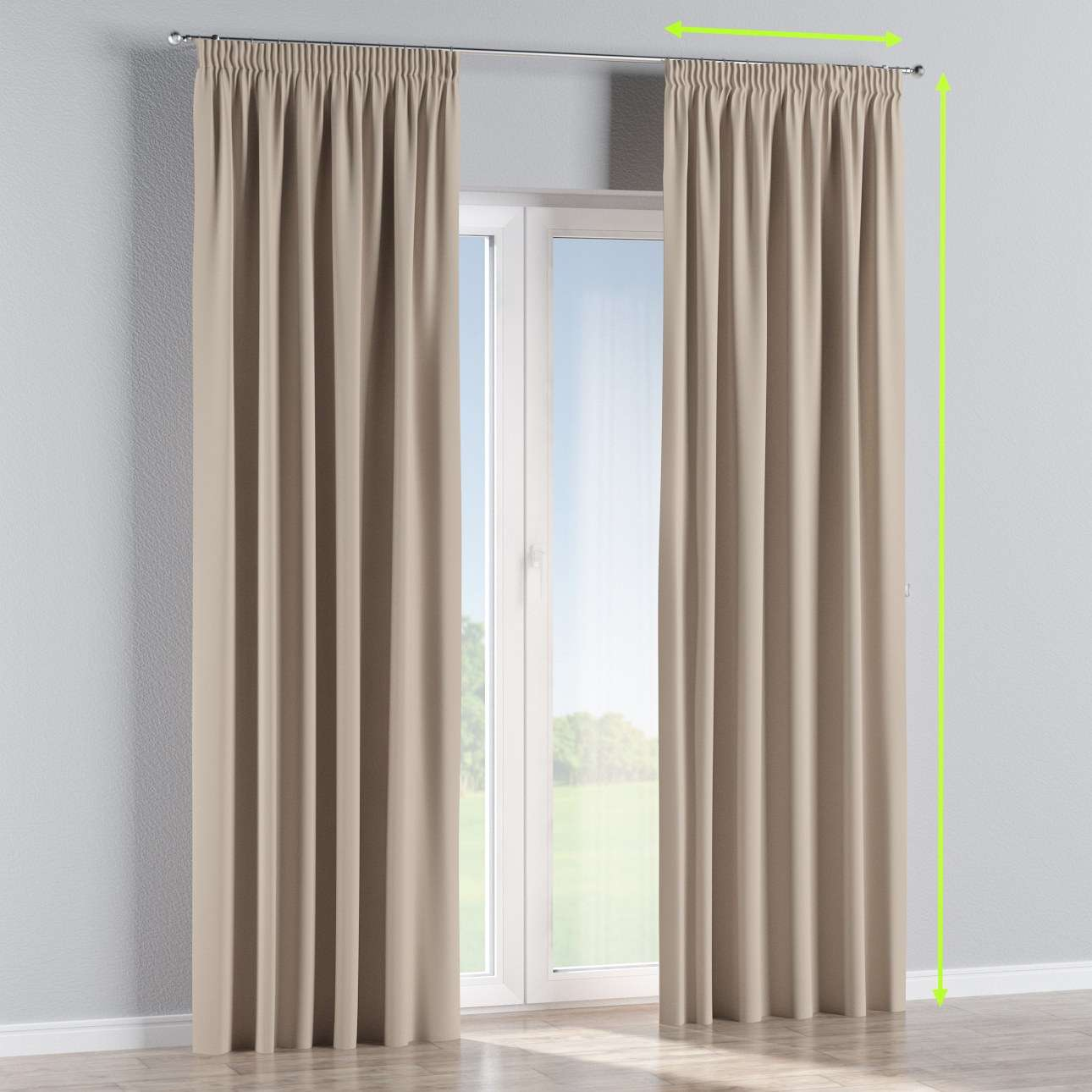 Pencil pleat curtain in collection Blackout, fabric: 269-00