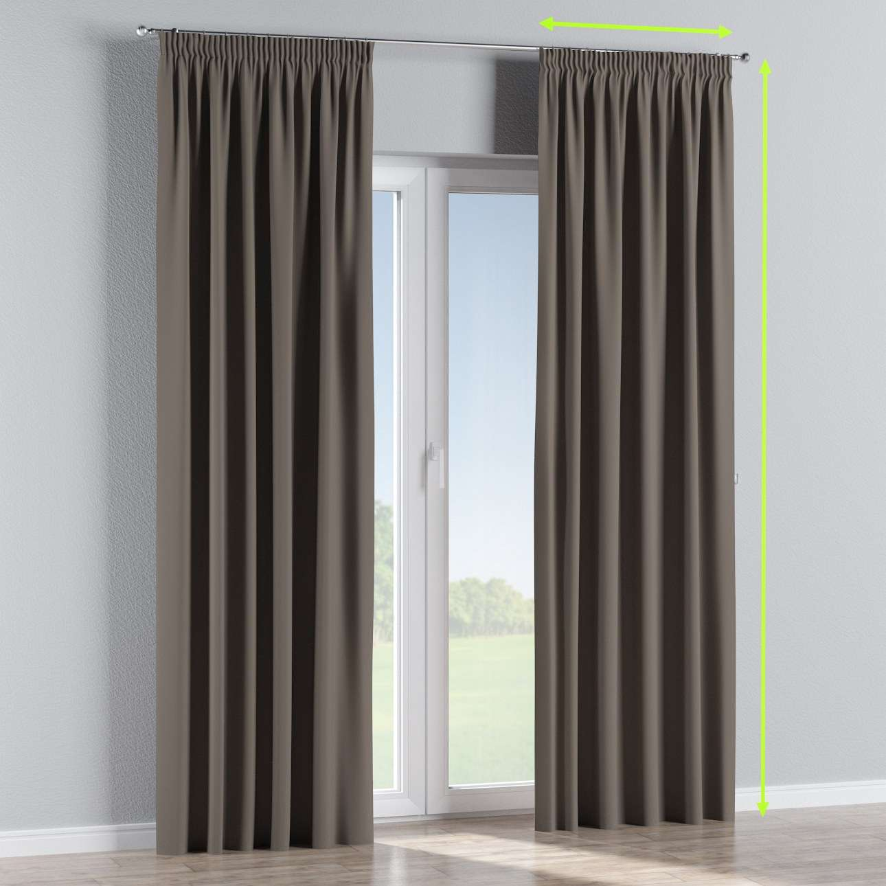 Pencil pleat curtain in collection Blackout, fabric: 269-80