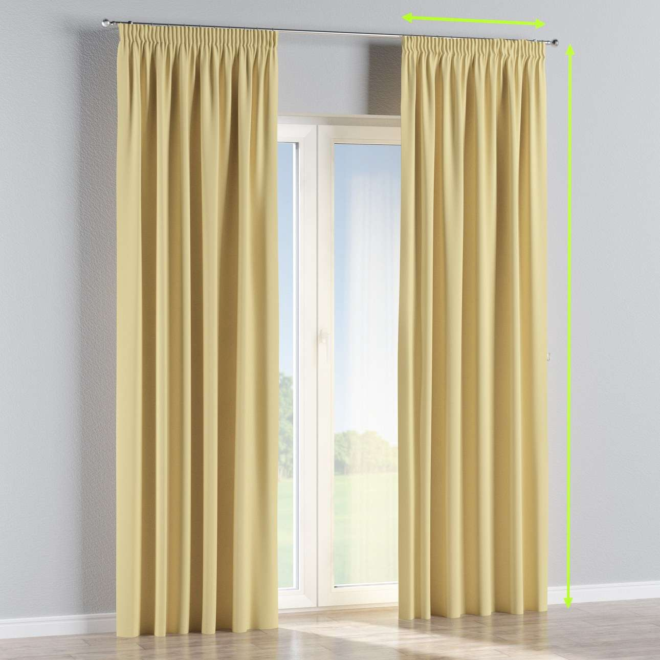 Pencil pleat curtain in collection Blackout, fabric: 269-12