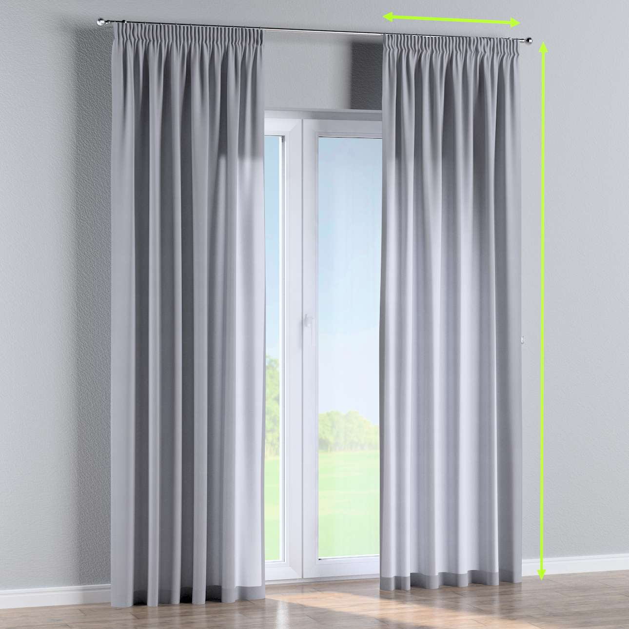 Pencil pleat curtain in collection Jupiter, fabric: 127-92