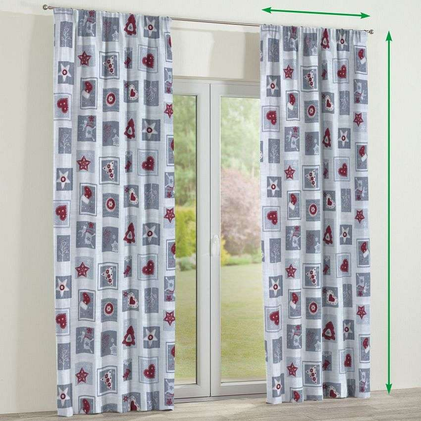 Pencil pleat curtains in collection Christmas, fabric: 629-23