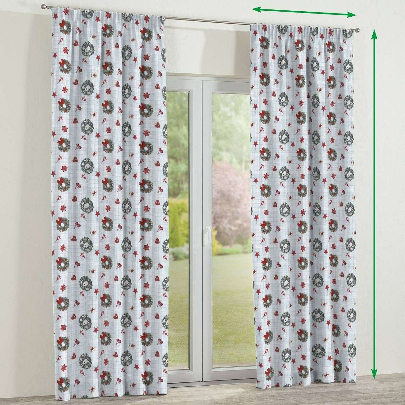 Pencil pleat curtains in collection Christmas, fabric: 629-26