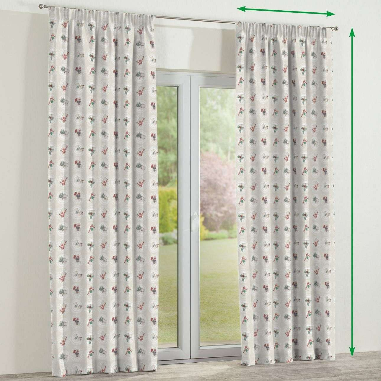 Pencil pleat curtains in collection Christmas , fabric: 629-30