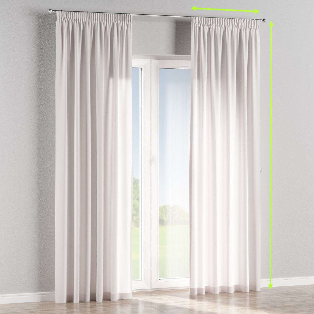 Pencil pleat curtains in collection Cotton Panama, fabric: 702-00