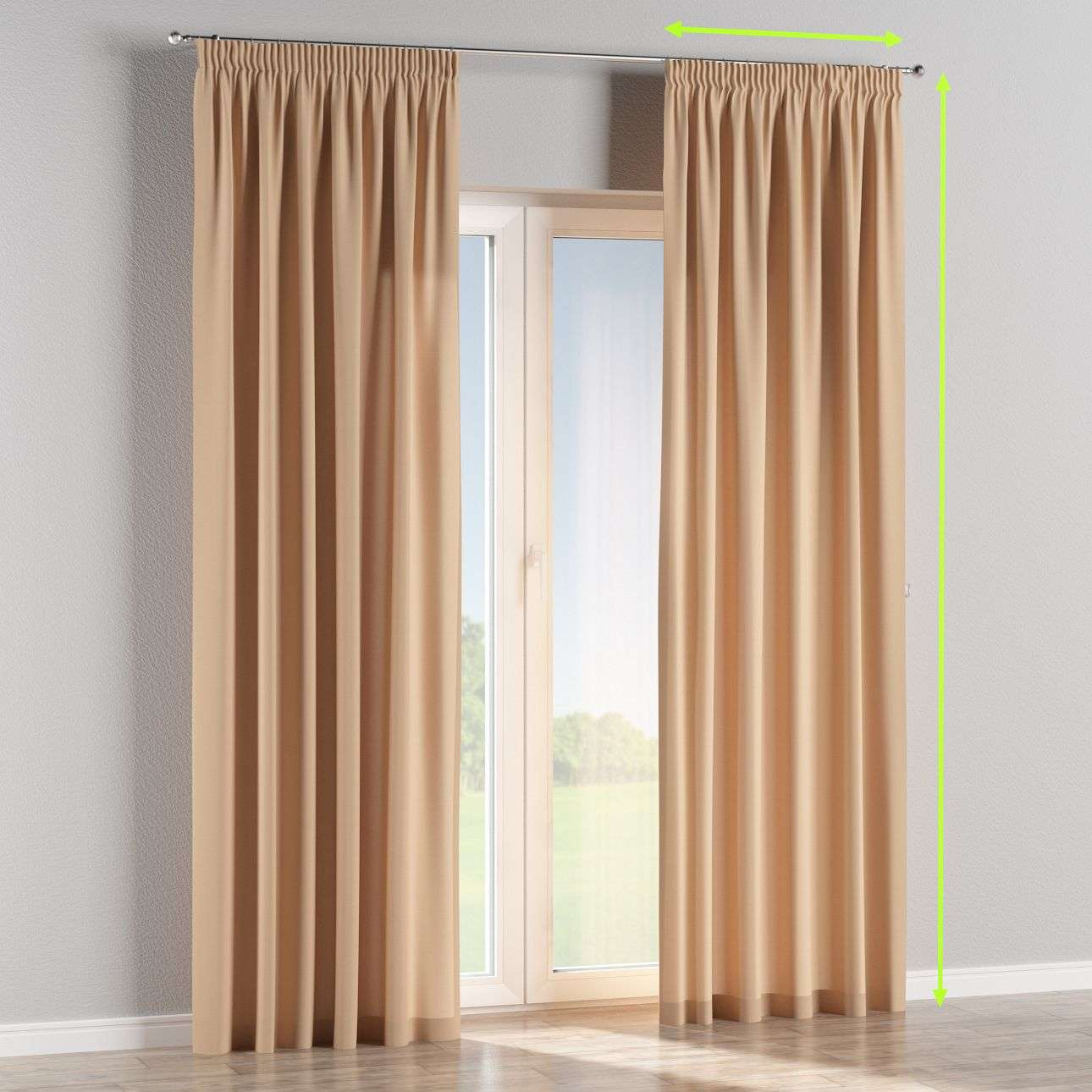 Pencil pleat curtains in collection Cotton Panama, fabric: 702-01