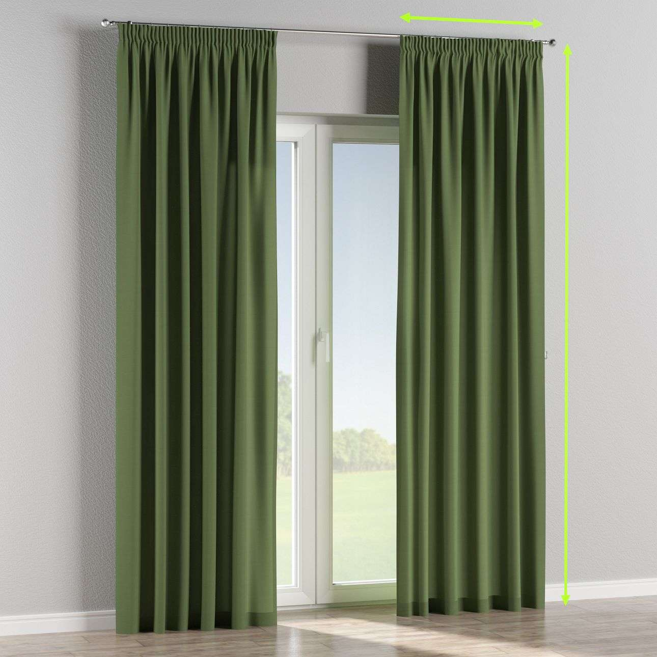 Pencil pleat curtains in collection Cotton Panama, fabric: 702-06