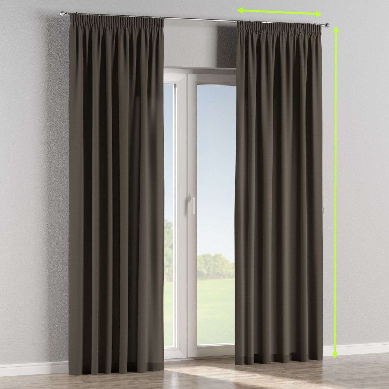 Pencil pleat curtains in collection Cotton Panama, fabric: 702-08