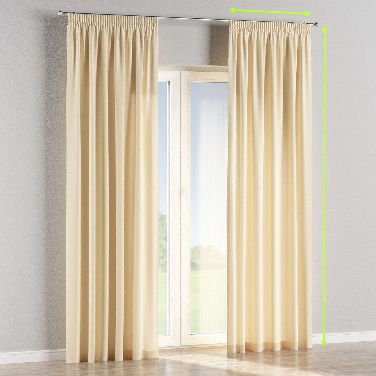 Pencil pleat curtains in collection Cotton Panama, fabric: 702-29