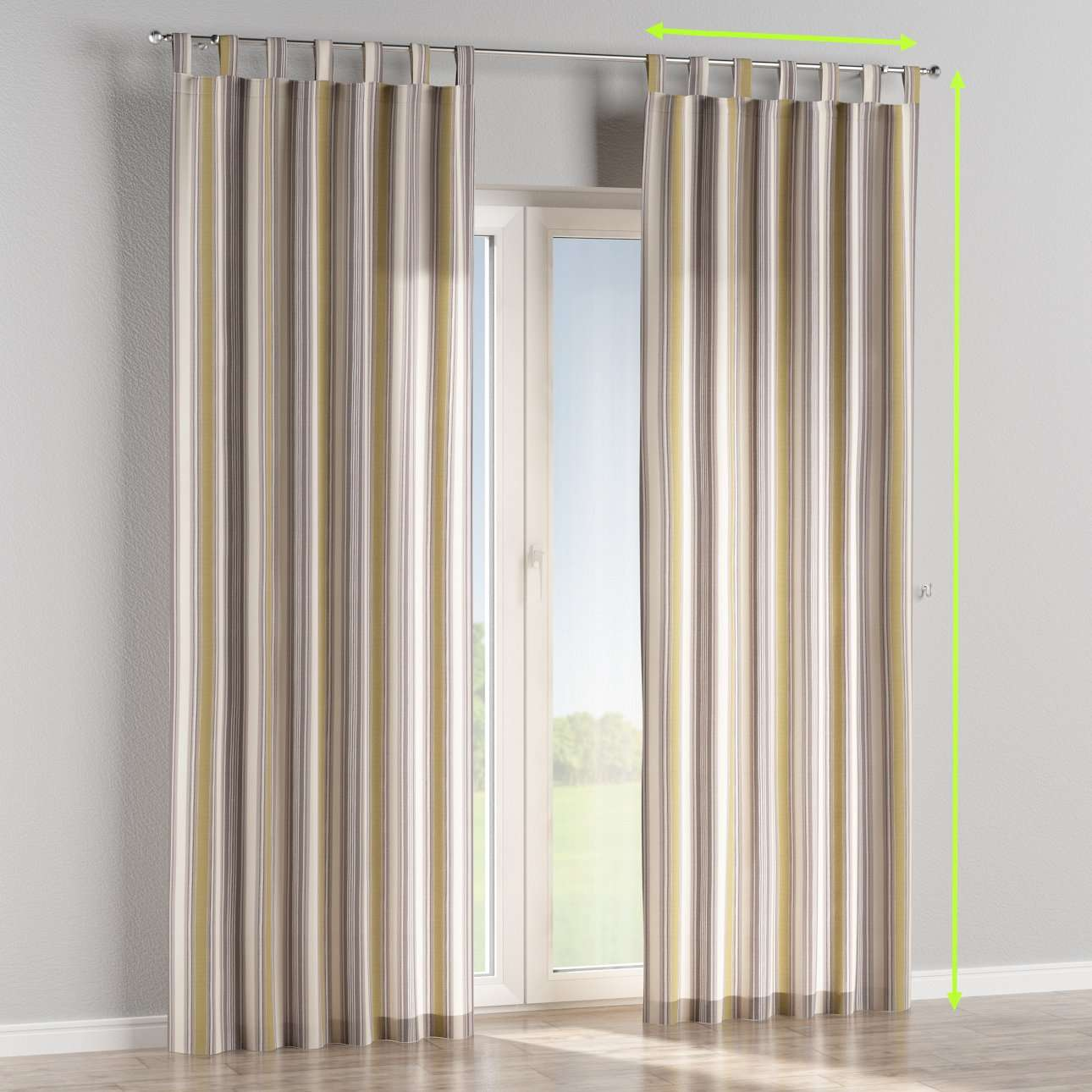 Tab top curtains in collection Londres, fabric: 122-06