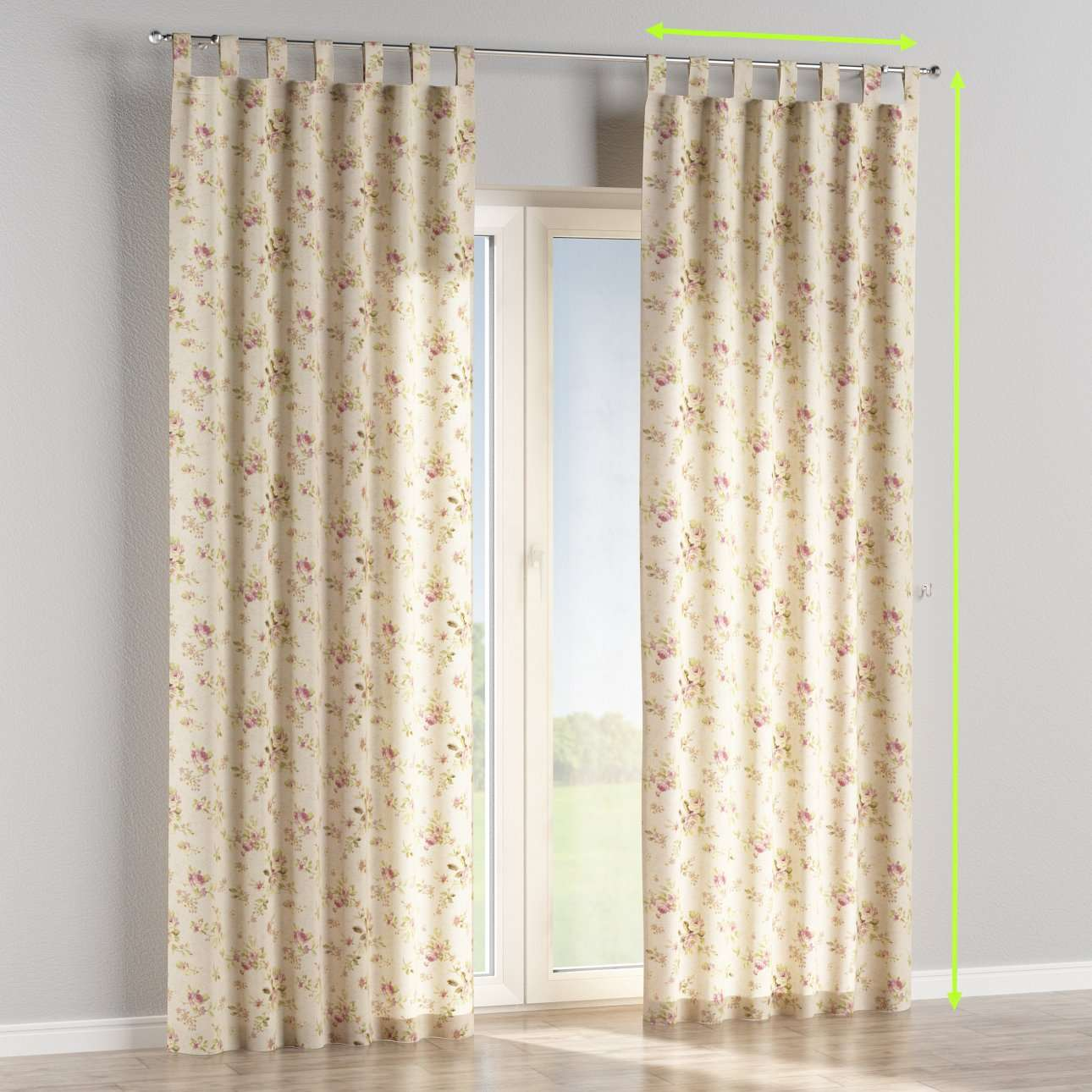 Tab top curtains in collection Londres, fabric: 122-07