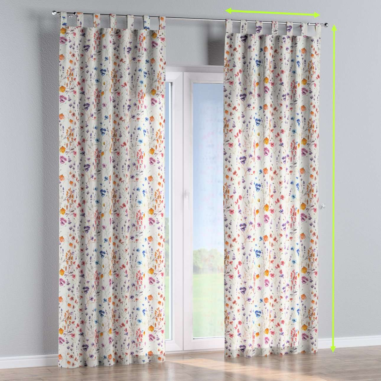 Tab top curtains in collection Flowers, fabric: 141-53