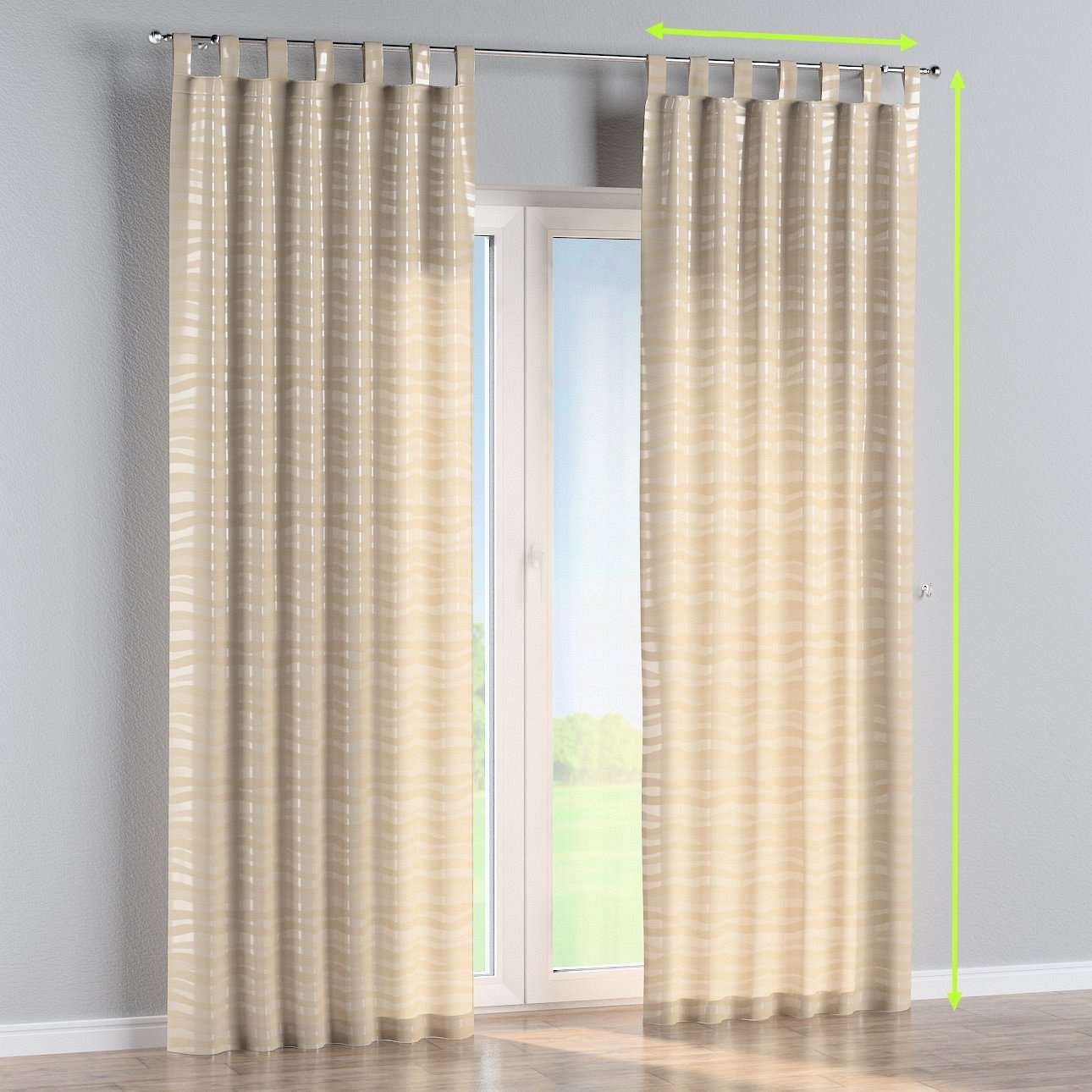 Tab top curtains in collection Damasco, fabric: 141-76