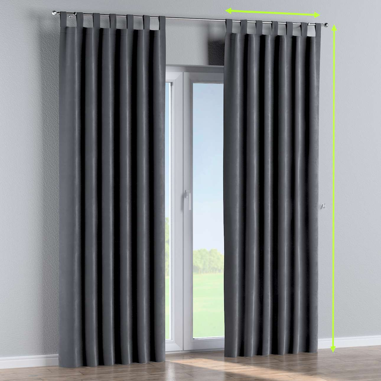 Tab top curtains in collection Velvet, fabric: 704-12