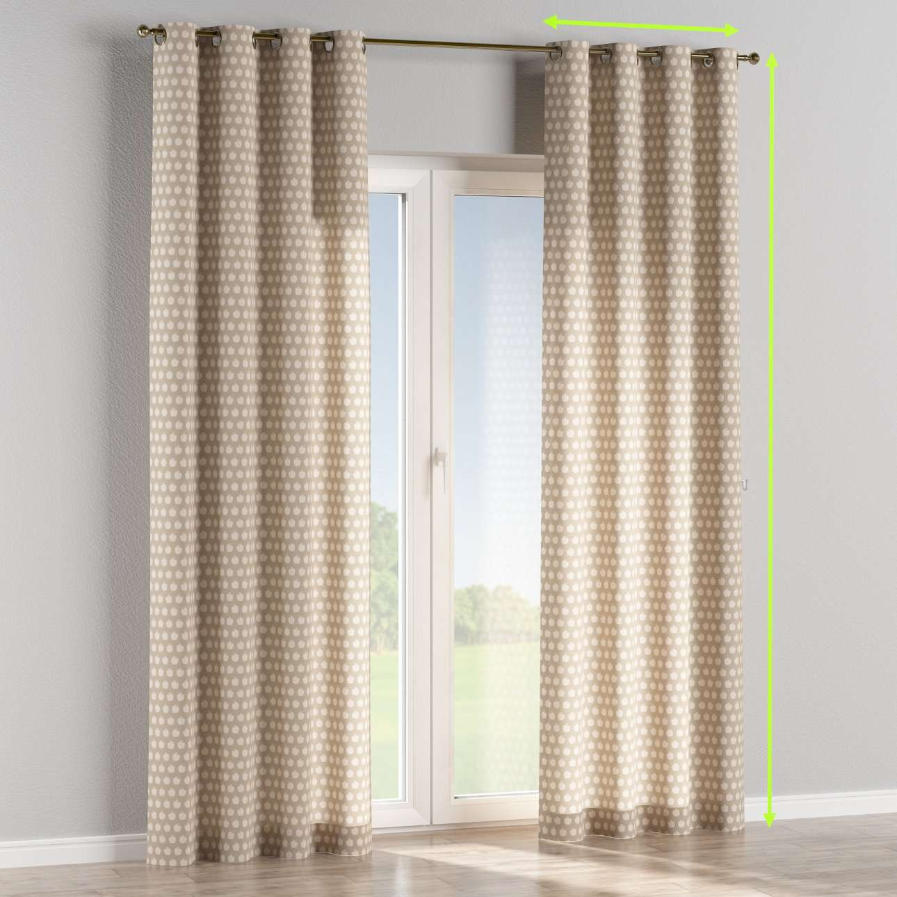 Eyelet curtains in collection Flowers, fabric: 140-55