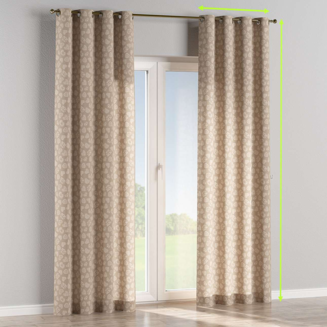 Eyelet curtains in collection Flowers, fabric: 140-56