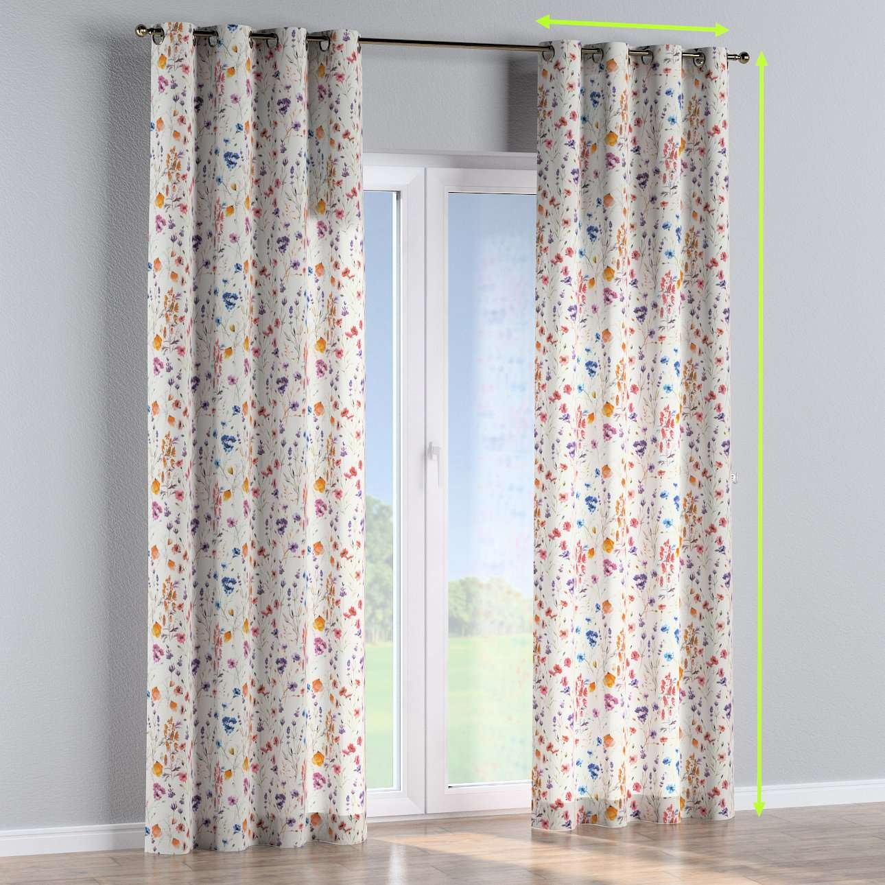 Eyelet curtains in collection Flowers, fabric: 141-53