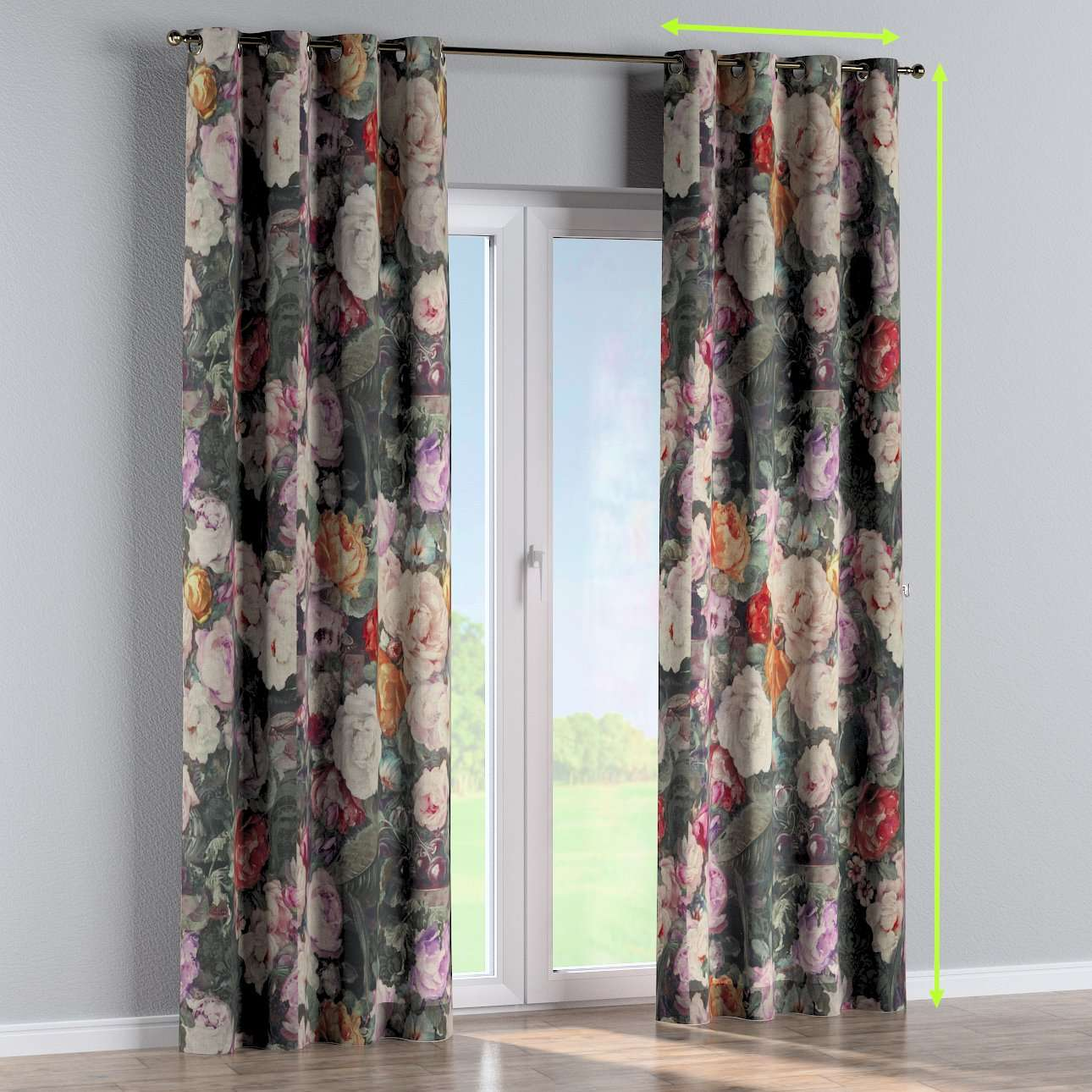 Eyelet curtains in collection Linen, fabric: 142-26
