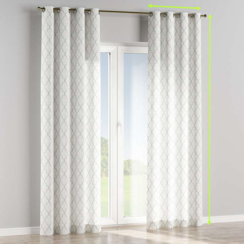 Eyelet Curtains Grey Moroccan Pattern On White Background