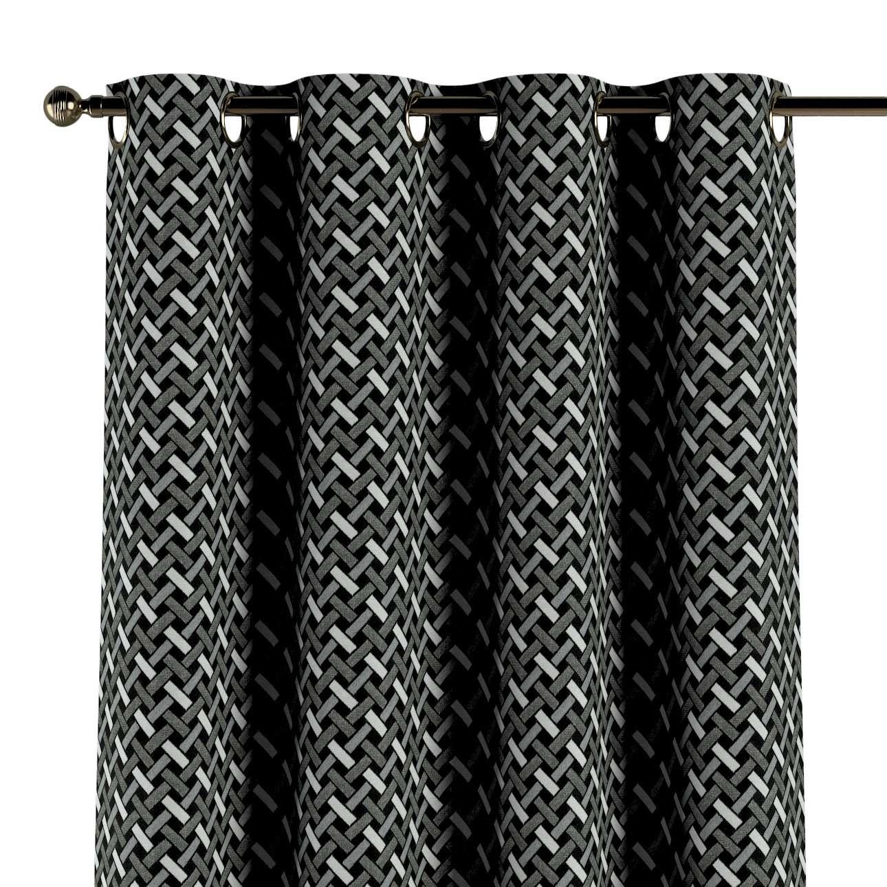 Gardin med öljetter 1 längd i kollektionen Black & White, Tyg: 142-87