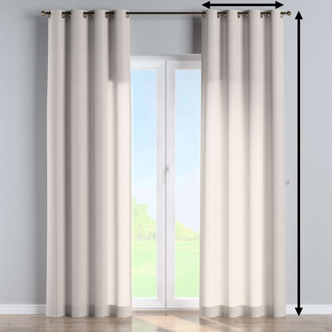 Eyelet curtain in collection Linen, fabric: 159-07