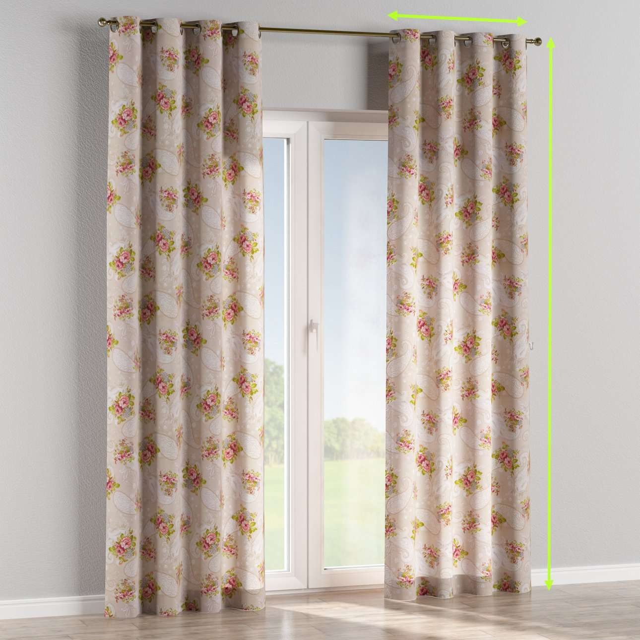 Eyelet curtains in collection Flowers, fabric: 311-15
